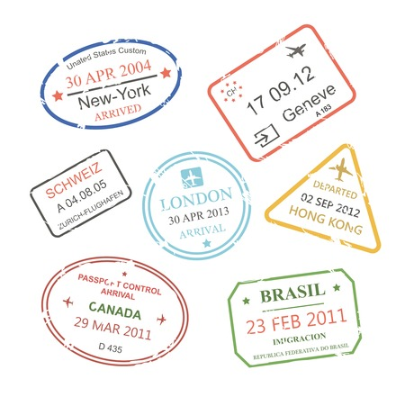 multinational: International business travel visa stamps set   illustration Stock Photo