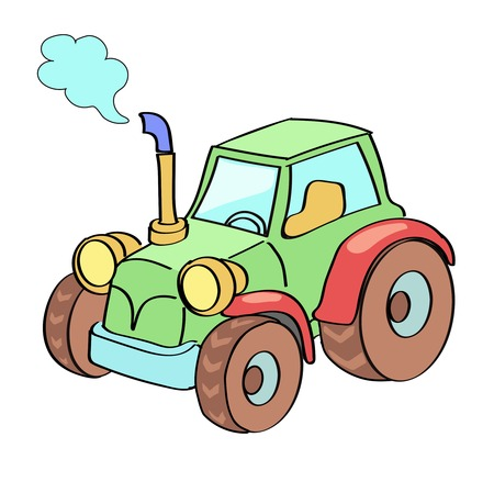 agricultural engineering: Tractor cartoon colored isolated on white Stock Photo