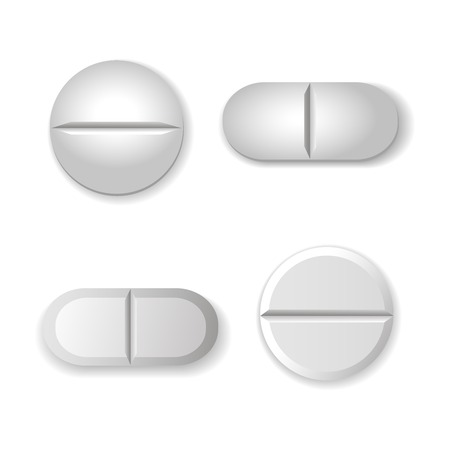 white pills: Tablets and pills vector set isolated  on white background.