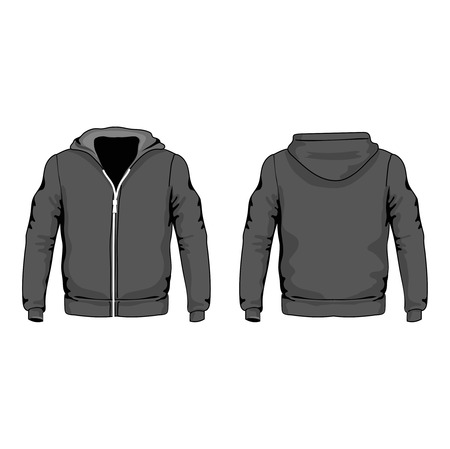 men s: Men s hoodie shirts template front and back views vector Illustration