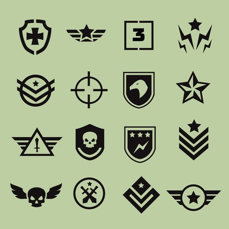 air war: Military symbol icons Illustration