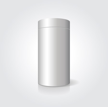cylindrical: Empty white cylindrical box on the isolated  background