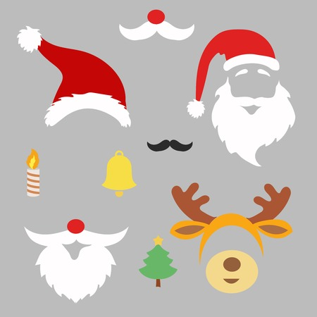 Christmas photo booth and scrapbooking vector set Santa, deer