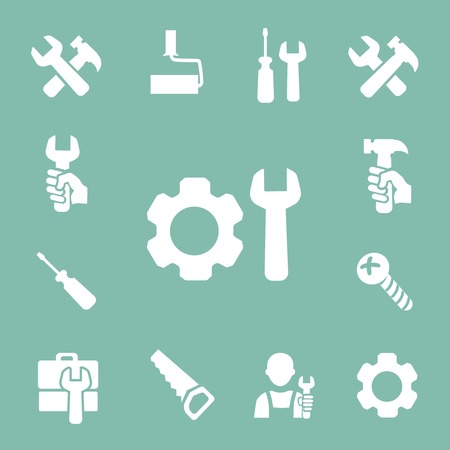 instrumentation: working tools isolated icons set of hammer  wrench screwdriver and measuring tape vector