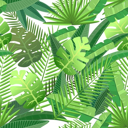 sem costura: Tropical deixa design floral Seamless padrão de fundo