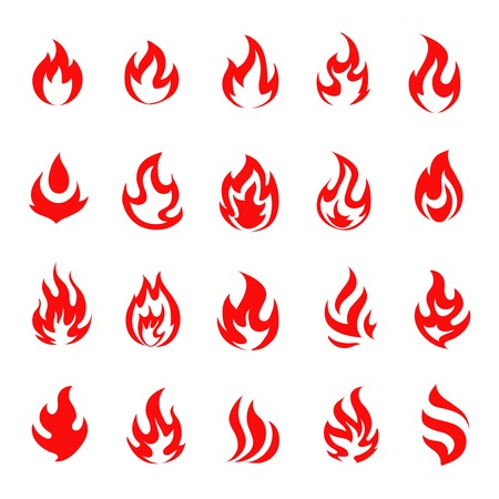 Red fire flat icons and pictograms set isolated on white background for design Vector