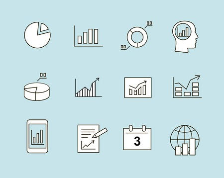 Business charts  Infographic analysis, diagrams icons thin line photo