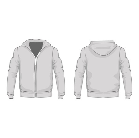 Mens hoodie shirts template.  Front and back views. Vector illustration. Vector