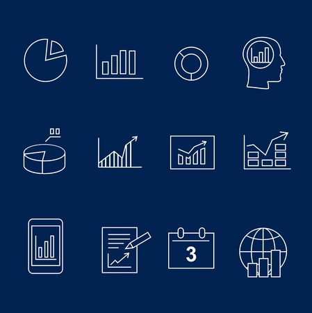 gram: Diagram and infographic white silhouette  icons vector