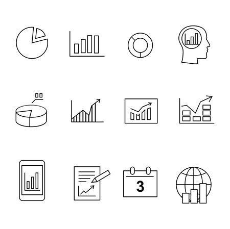 stock broker: Market analysis, Business diagrams icons set vector black silhouette