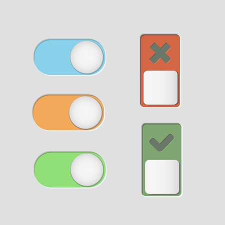 toggle: toggle switch icons and check mark vector