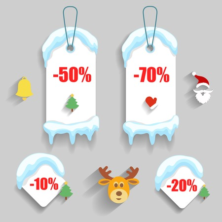 Colorful winter Christmas sale stickers and tags with discounts and snowdrift Illustration