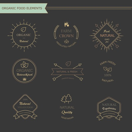 Set of vintage style elements for labels  and badges for meat, fresh organic products, photo