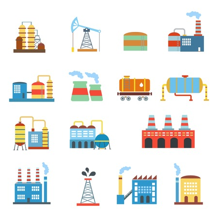 bedrijfshal: Industrial building factories and plants  icons set isolated  illustration.