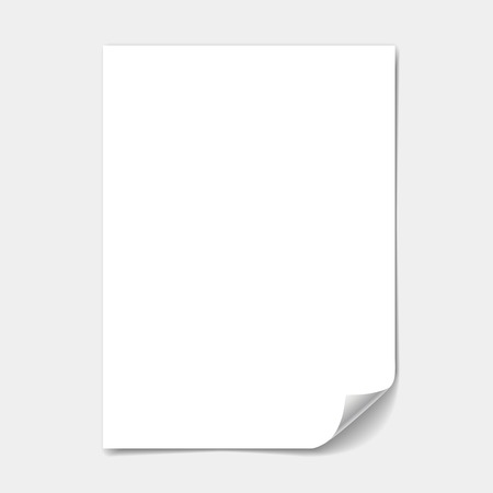 one sheet: blank paper sheet with  page curl  illustration
