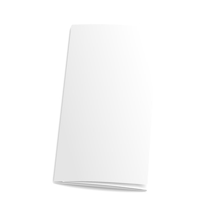 assign: Blank trifold paper brochure. on white background with soft shadows. Vector illustration. Illustration
