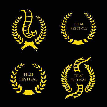feature films: Film Festival Gold Award  Set Vctor illustration Illustration