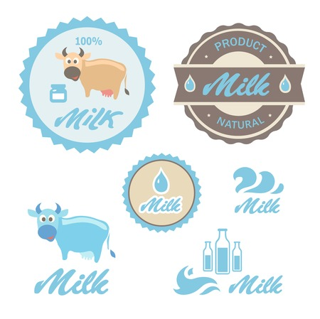 skim: Set of labels and symbols  for milk in vector