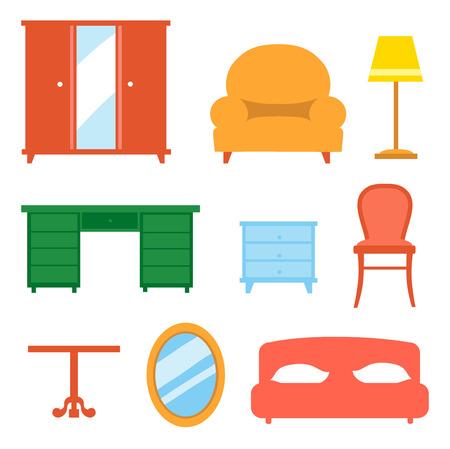 Interior indoor living room design elements  set isolated  illustration Vector