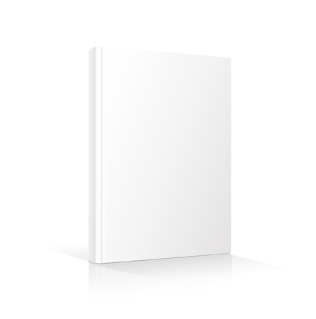 Blank vertical book cover template standing on white surface  Perspective view. Vector illustration.