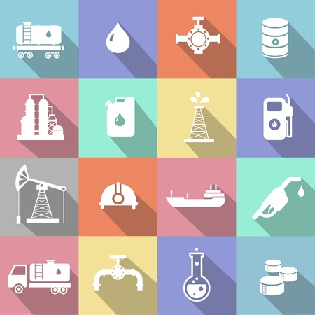 tank ship: Oil industry petrol gasoline processing symbols icons set with oilman truck petroleum can tanker with long shadow