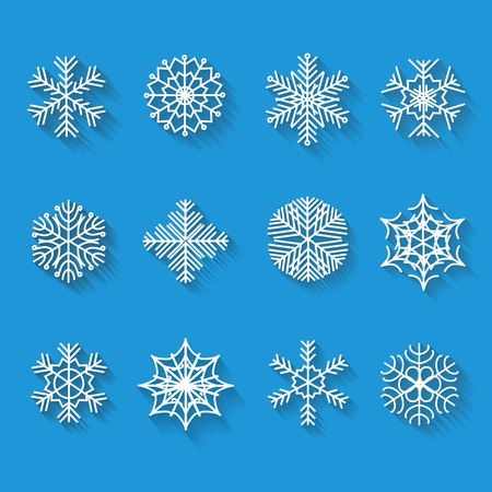 Flat snowflakes. Icons isolated on a blue background. Set  with long shadows. Elements of various shape for your design.  illustration. illustration