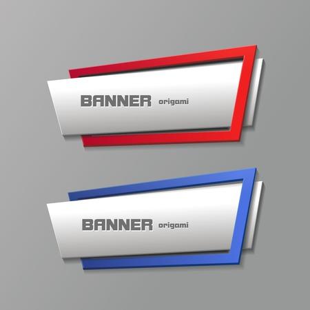 sticker label: Origami banners set design shape Illustration