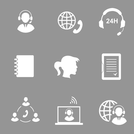 call center agent: Call center service icons set  isolated illustration