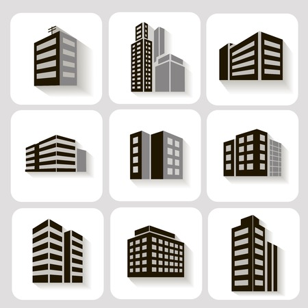 highrise: Set of dimensional buildings icons in grey and white with shadow depicting high-rise commercial buildings  office blocks and residential apartments