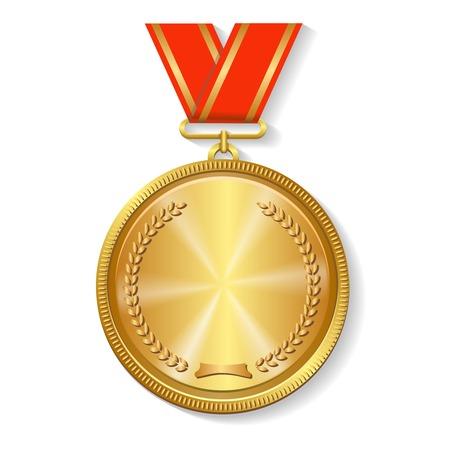primer lugar: medalla de oro en cinta roja aislado sobre fondo blanco