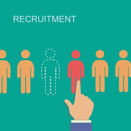 recruitment icon: vector recruitment and human resource infographics template  with space for text