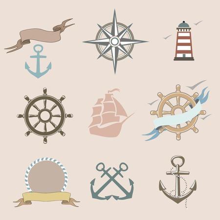 lifeline: Illustration of set marine  icons Illustration
