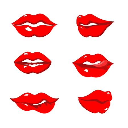 closed mouth: Set of red lips isolated vector