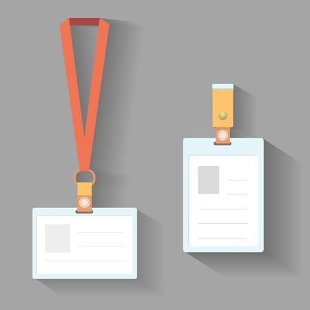 id card: Lanyard badges template flat design with shadow Illustration