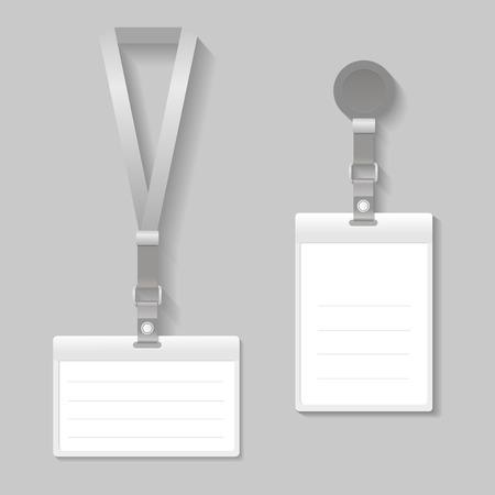 lanyard: Cuerda de seguridad, nombre de la etiqueta final titular modelo de tarjetas de vectores Vectores
