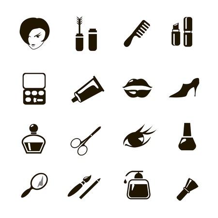 belleza y maquillaje vector iconos negros
