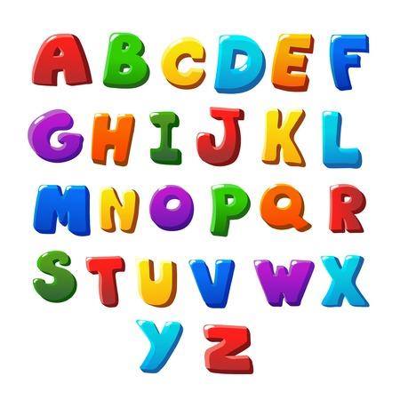 Alfabeto cartas color sobre un fondo blanco