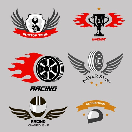 racing wings: Car racing badges and motorcycle service,  Championship logos Illustration