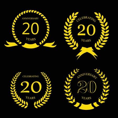 20: twenty years anniversary laurel gold wreath -  20 years set Illustration
