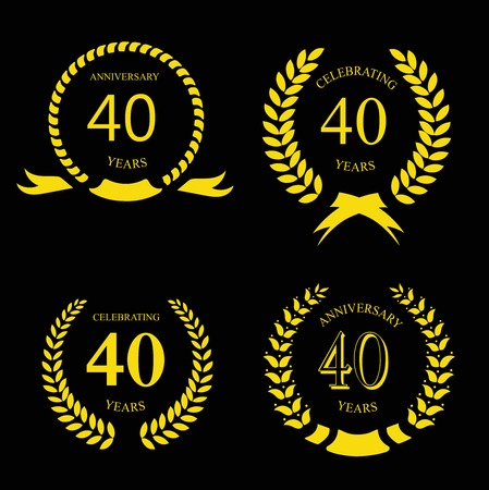 40: forty years anniversary laurel gold  wreath set Illustration