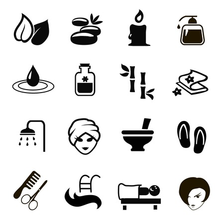 skin oil: black Spa Icons set  vector isolated on white background