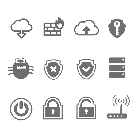 Computer network and security icon set  in single  color Vector