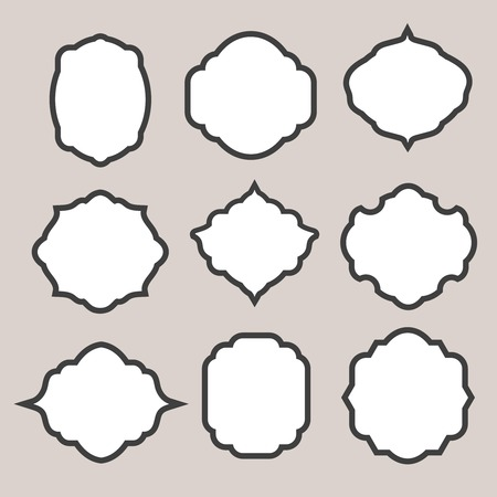 cartouche: Set of vector  silhouette frames or  cartouches for badges Illustration