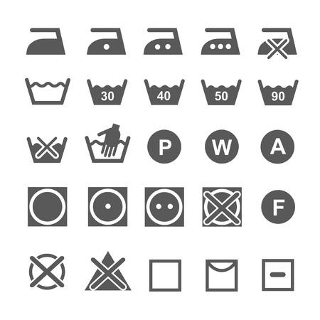 Set van wassymbolen. Wasserij pictogrammen geïsoleerd op een witte achtergrond