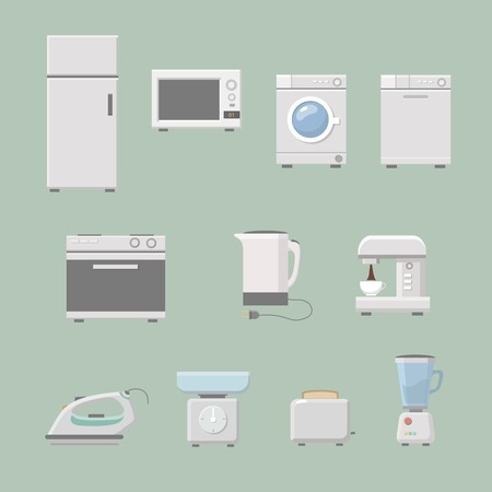 microwave stove: Set of kitchen appliances flat icons  with  a washing machine  stove  fridge iron  microwave scale  kettle  coffee machine and toaster