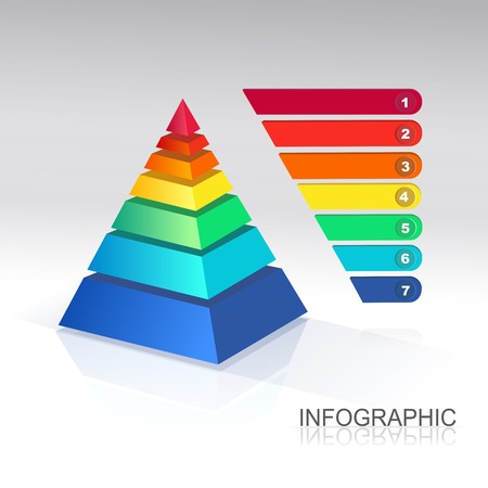 three layered: Pyramid chart. . for infographics and presentations