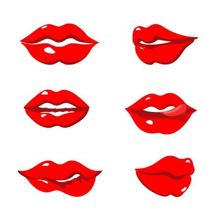 labios sensuales: Conjunto de rojos labios sexy aislados