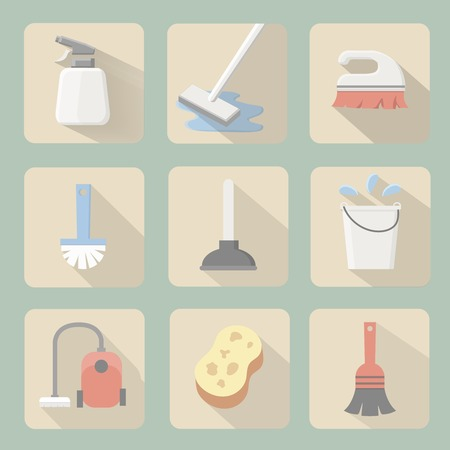 rubber glove: Cleaning flat icons  with plunger bucket Broom sponge and vacuum cleaner Illustration