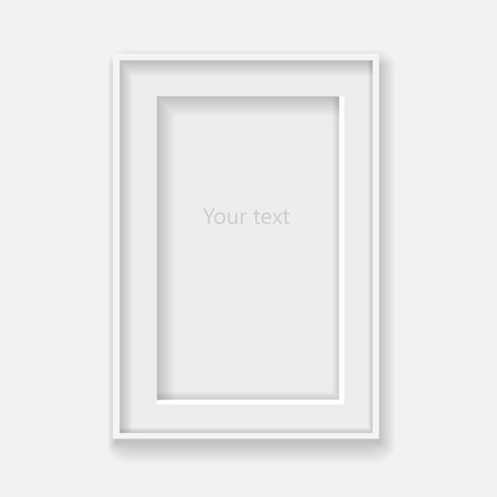 place mat: White vertical frame on gray wall with shadows.  Vector Illustration