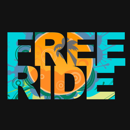 Surfer free ride  typography, kite surf t-shirt graphics, vectors